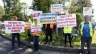 Protests by farmers continue outside meat processing plants around the country. File image