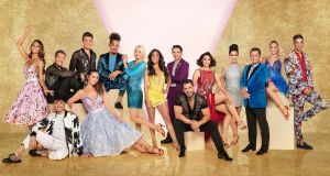 The line-up for Strictly Come Dancing: David James, Saffron Barker, Mike Bushell, Michelle Visage, Emma Barton, Kelvin Fletcher, Will Bayley, Alex Scott, Anneka Rice, Dev Griffin, Catherine Tyldesley, James Cracknell, Karim Zeroual, Chris Ramsay and Viscountess Emma Weymouth. Photograph:  Ray Burmiston/BBC/PA