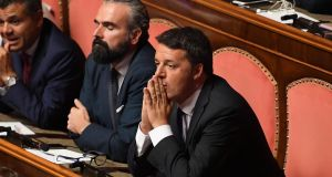 Former Italian prime minister Matteo Renzi (right): move is a gamble for the 44-year-old senator who is appealing to the political centre at a time when his popularity is low. Photograph: Maurizio Brambatti/EPA