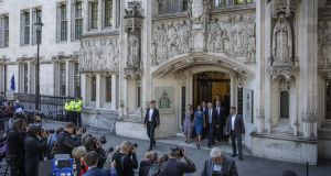 Businesswoman Gina Miller leaves the UK supreme court following a hearing on the legality of proroguing parliament in London. Photograph: Dan Kitwood/Getty Images