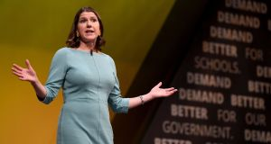 Liberal Democrats leader Jo Swinson delivers her keynote speech at the party conference in  Bournemouth. Photograph: Finnbarr Webster/Getty Images