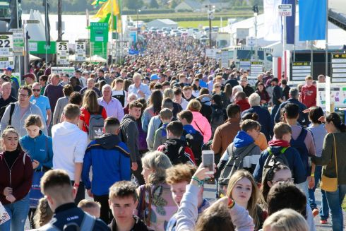 Crowds mill about at a strongly attended opening morning of the National Ploughing Championships in Fenagh, Co Carlow. Photograph: Nick Bradshaw