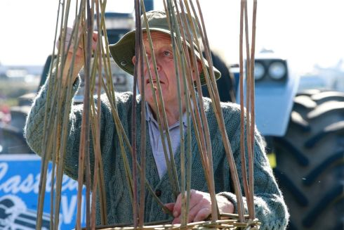Basket maker John Mulderrig, from Offaly, displays his traditional skills. Photograph: Nick Bradshaw