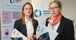 DS Rachel Shields of the PSNI and Claire Archbold of the Department of Justice at the launch of the Organised Crime Task Force annual report. Photograph: Aaron McCracken