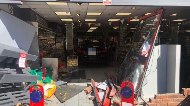 The scene of the crash at C&T Superstore, Skerries. Photograph: Dublin Fire Service/Twitter