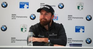 Shane Lowry talks to the media during practice yesterday for the BMW PGA Championship at  Wentworth. Photograph: Andrew Redington/Getty Images