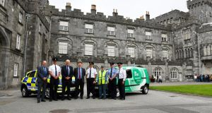 An Post head of security Brendan Cloonan, Assistant Commissioner Michael Finn, Chief Supt Dominic Hayes, Supt Derek Hughes, Crime Prevention Officer Peter McConnon and Jom Bergin of An Post at the launch of the initiative at Kilkenny Castle. Photograph: An Garda Síochána