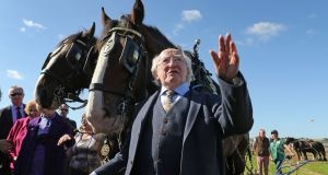 President Michael D Higgins visited the Ploughing this afternoon to officially open the event. Photograph: Nick Bradshaw