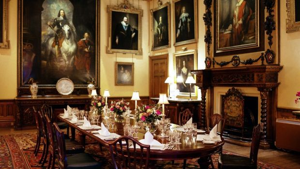 Downtown Abbey on Airbnb: the dining room at Highclere Castle, in Hampshire, in southern England