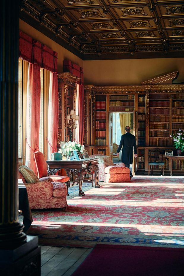 Downtown Abbey on Airbnb: the library at Highclere Castle, in Hampshire, in southern England