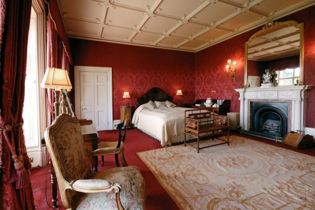 Downtown Abbey on Airbnb: one of the bedrooms at Highclere Castle, in Hampshire, in southern England