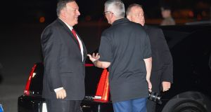 US secretary of state Mike Pompeo leaving the US to travel to Saudi Arabia. Photograph: Getty Images