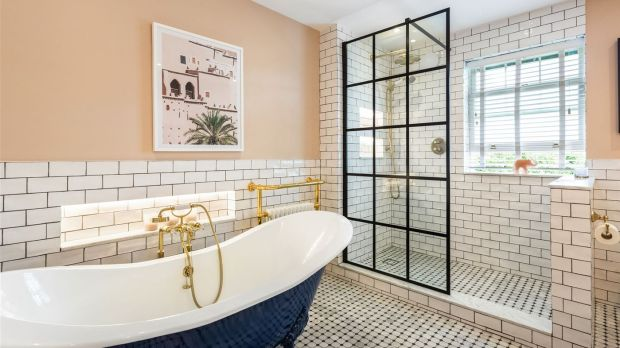 Pine Lodge: a bathroom at Saoirse Ronan's Co Wicklow home