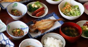 Japanese  breakfast dishes can include  white rice, grilled fish, boiled egg, miso soup, natto, other side dishes. Photograph: iStock