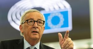 Jean-Claude Juncker addresses the plenary of the European Parliament on Britain's withdrawal from the EU during Brexit  debate  at the European Parliament in Strasbourg on Wednesday. Photograph: Patrick Seeger/PA