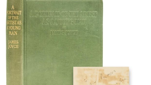 James Joyce's A Portrait of the Artist as a Young Man, first English edition, English sheets, signed presentation inscription from the author, 1918. Forum Auctions (£15,000 -£20,000)