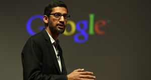 Google chief executive Sundar Pichai is supporting internet safety programmes for children even as his group is fined over alleged child data privacy breaches. Photograph: Lluis Gene/AFP/Getty