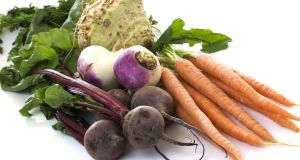 Carrots, beets, turnips  and celery. Root vegetables are full of nutrients, which would have kept our ancestors going through their hard winters