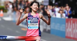 Japan's Honami Maeda crosses the  line to win the women's race of the Marathon Grand Championship in Tokyo on September 15th. Photograph: Charly Triballeau/AFP/Getty Images