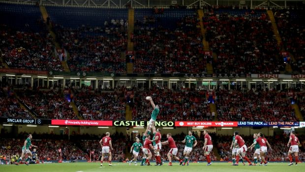 James Ryan takes the ball in the lineout during the World Cup warm-up match against Wales In Cardiff. Photograph: Dan Sheridan/Inpho
