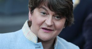 DUP leader Arlene Foster arrives to speak to the Dublin Chamber of Commerce. Photograph: Brian Lawless/PA Wire