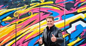 US actor and singer David Hasselhoff – The Hoff –  poses during an event to promote his new audiobook Up against the Wall. Photograph:  Tobias Schwarz/ AFP