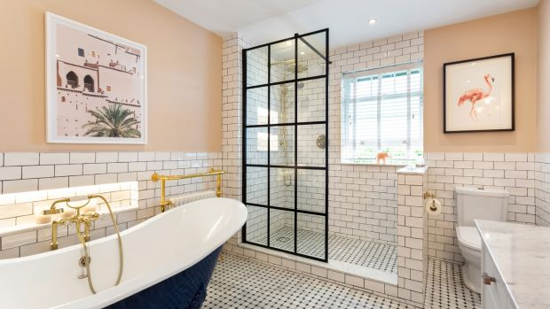 Bathroom: Ronan styled the room with a Crittal-style shower screen and a free-standing claw-foot bath
