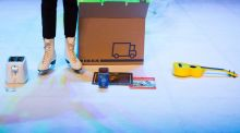 On Ice:  Grotenhuis performs on an ice rink, surrounded by her life's possessions. Photograph: Jeroen Broeckx