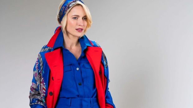 Jester royal blue and red large silk scarf €295 and bandana style classic square €190 by Debbie Millington