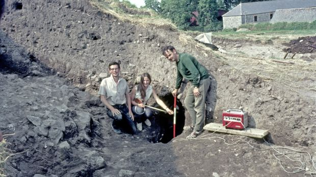 Knowth Passage Tomb, Boyne Valley, Co. Meath, Ireland. Early days of the excavation. George Eogan, Tom Fanning and unknown assistant