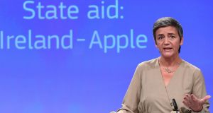 "EU competition commissioner Margrethe Vestager: ""Our investigation into the Irish tax rulings began in 2013, after Apple told a US Senate hearing about what it called a 'tax incentive arrangement' with Ireland."" Photograph: Emmanuel Dunand/AFP/Getty Images"