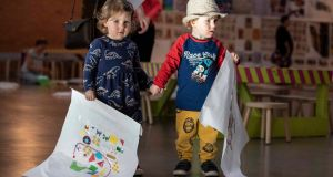 "Twins Molly and Jack Clearly Flynn enjoy a pre-Culture Night event at a ""Beag"" performance at the Crawford art gallery  in  Cork. Photograph:  Clare Keogh"