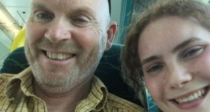 Philip Lynch with his daughter Molly on the plane from Hobart in Tasmania to Dublin.
