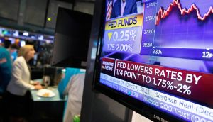 News of the US Federal Reserve's rate cut helped bank stocks on Thursday. Photograph: Mark Lennihan/AP Photo