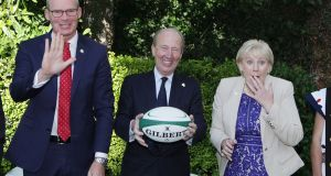 Tánaiste and Minister for Foreign Affairs and Trade Simon Convey TD (left), Minister for Transport, Tourism and Sport Shane Ross TD and Minister for Business, Enterprise and Innovation Heather Humphreys at the launch of a new Japan-focussed campaign to promote Ireland during the Rugby World cup. Photograph: Stephen Collins/Collins Photos