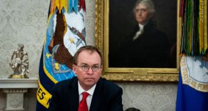 White House acting chief of staff Mick Mulvaney  joked that he was going to 'put a plug in' for Lahinch golf club where he is an overseas life member. Photograph:  The New York Times