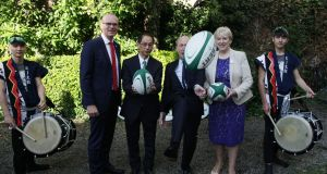 Tánaiste Simon Coveney, Minister for Business Heather Humphreys, Minister for Tourism and Sport Shane Ross and Japanese ambassador Mitsuru Kitano at the announcement of a Japan-focused promotional campaign for Ireland during the Rugby World Cup. Photograph: Stephen Collins/Collins