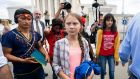 Climate activist Greta Thunberg outside the US Supreme Court on Wednesday. Photograph: Jim Lo Scalzo/EPA