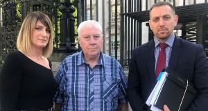 Jim Coney (C), whose brother was shot dead as he attempted to escape Long Kesh prison camp in 1974, at Belfast Coroner's Court on Thursday. Photograph: Rebecca Black/PA Wire