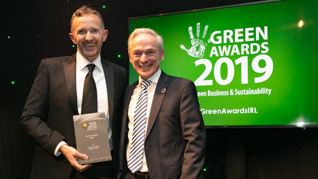 Minister Richard Bruton presents the Green Leader 2019 award to Norman Crowley, Crowley Carbon.