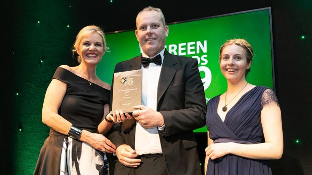 Barry Murphy, Commercial Director, Naturgy presents The Green Manufacturer Award to Lisa Harlow and Cathy Cronin, Intel Ireland.