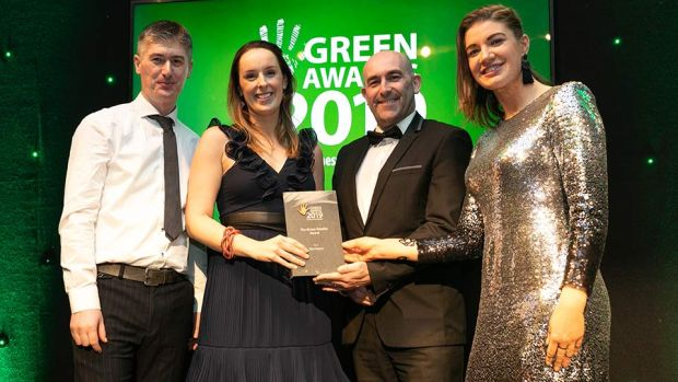 Peter Byrne, Quality & Environmental Manager, Roadbridge presents The Green Retailer Award to Kathryn Payne, IKEA Ireland.