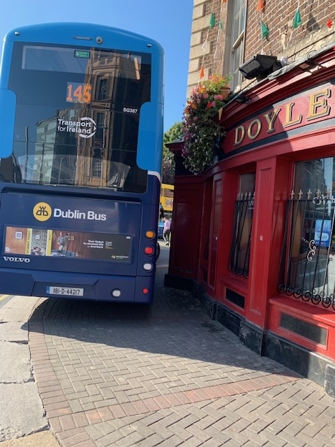 Staff in the pub say they felt the building shake as the bus crashed into the cornice of the pub. Photograph: Peggy Vather