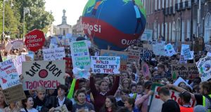 Some of the thousands of children who protested on  Merrion Square in Dublin on Friday as part of the  Global Climate Strike. Photograph: Collins