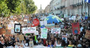 Students at the global climate change strike in Dublin's Merrion Square on Friday. Photograph: Aidan Crawley/The Irish Times