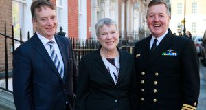 Deputy secretary general of Nato Rose Gottemoeller with Maurice Quinn, secretary general at the Department of Defence, and Vice-Admiral Mark Mellett, chief of staff of the Defence Forces. Photograph: Nick Bradshaw
