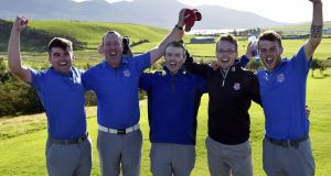 Limerick Golf Club's   (from left) Ciaran Vaughan, Michael Redden, Justin Kehoe, Owen O'Brien and Sean Enright celebrating victory in the Barton Shield at Westport Golf Club. Photograph:   Pat Cashman