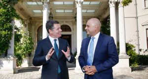 Minister for Finance Paschal Donohoe and UK chancellor of the exchequer Sajid Javid at Farmleigh House. Photograph: Julien Behal Photography