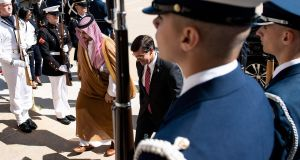 Saudi Arabia's vice minister of defence Prince Khalid bin Salman and US secretary of defense Mark Esper walk together to a meeting during an honor cordon at the Pentagon in Washington, DC. Photograph: Brendan Smialowski/ AFP/Getty Images