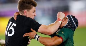 South Africa's Cheslin Kolbe tackles Beauden Barrett during his side's defeat to the All Blacks in Yokohama. Photograph: Odd Andersen/AFP/Getty